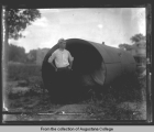 Reservoir Park - man next to large pipe