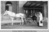 Horse drawn surry at Chicago, Burlington and Quincy depot