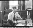 Voss Brothers Manufacturing Company Employee, using wax cylinder dictaphone