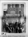 Composite photograph of Fire King Steam Engine and Hose Company Number 1 and four early residents