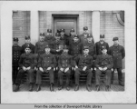 Firemen posed in front of Central Fire Station