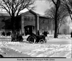 [Removing snow around building at Forest Park Sanitarium]