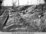 Rockingham Boulevard railroad crossing, wreckage in the ditch